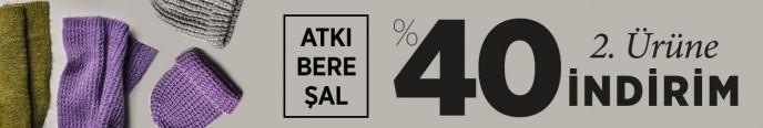Mudo Atkı, Bere ve Şalda 2. Ürüne %40 İndirim