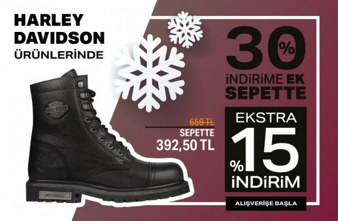 Harley Davidson Ürünlerinde %30+%15 İndirim Ayakkabı Dünyası'nda!