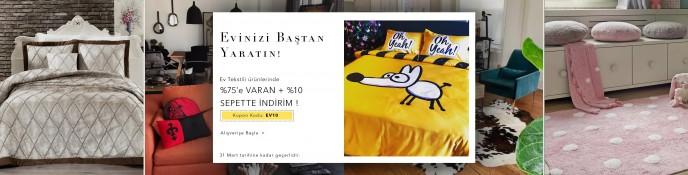 Ev Tekstil Ürünlerinde %75+%10 Sepet İndirimi Lidyana'da!