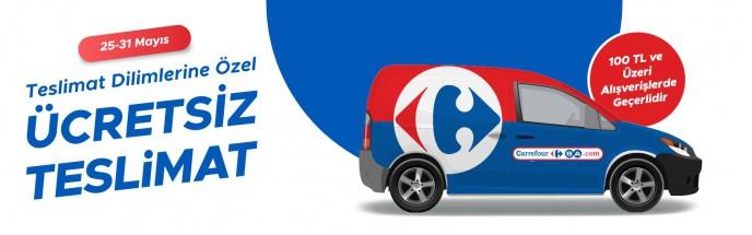 CarrefourSA'da 25-31 Mayıs Teslimat Dilimlerine Özel Ücretsiz Teslimat Kampanyası!