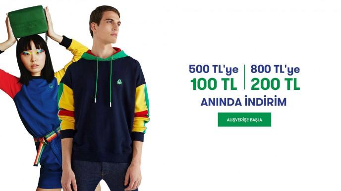 Benetton'da 500TL'ye 100 TL, 800TL'ye 200 TL Anında İndirim!