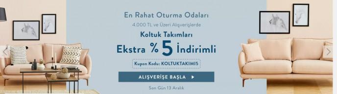 Vivense'de 4000 TL ve Üzeri Alışverişlerde Koltuk Takımları Ekstra %5 İndirimli!