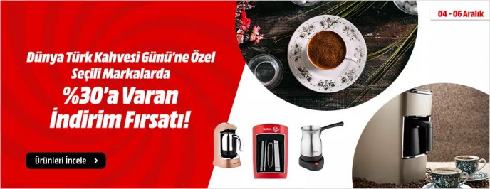 MediaMarkt'ta Kahve Makineleri %30 İndirimli Fiyatlarla!