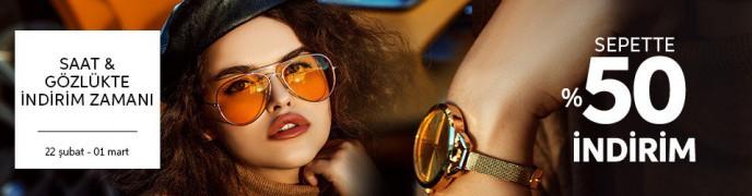 Saat ve Gözlüklerde Sepette %50 İndirim Zamanı!