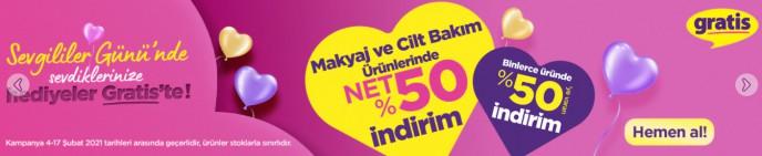 Gratis'te Sevgililer Gününe Özel Binlerce Üründe Net %50 İndirim!'