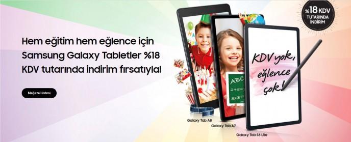 Samsung Galaxy Tabletler %18 KDV tutarında indirim fırsatıyla!