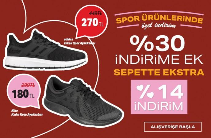 Ayakkabı Dünyası'nda Spor Ürünlerine %30+%14 İndirim