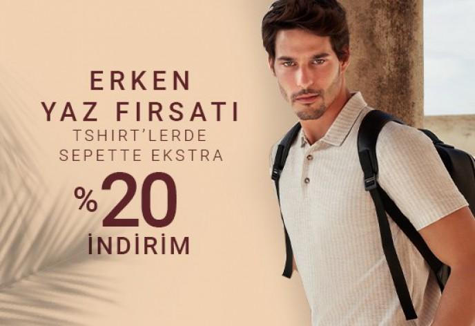 Pierre Cardin'de Erken Yaz Fırsatı T-shirt'lerde Sepette %20 İndirim