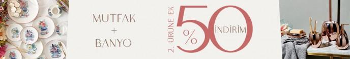 Mudo Mutfak ve Banyo Ürünlerinde 2. Ürüne %50 İndirim