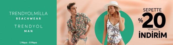 Trendyol Plaj Giyim Ürünlerinde Sepette %20'ye Varan İndirim