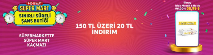 Trendyol'da 150 TL Üzeri 20 TL Kampanyası!