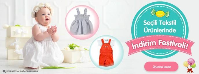 Ebebek Seçili Bebek Tektsil Ürünlerinde İndirim Festivali!