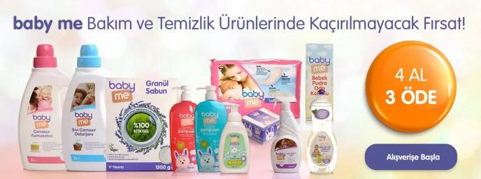 Baby Me Bebek Bakım ve Temizlik Ürünlerinde 4 AL 3 ÖDE!