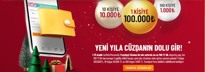 Trendyol Cüzdan ile Yeni Yıl Çekilişi Zamanı!
