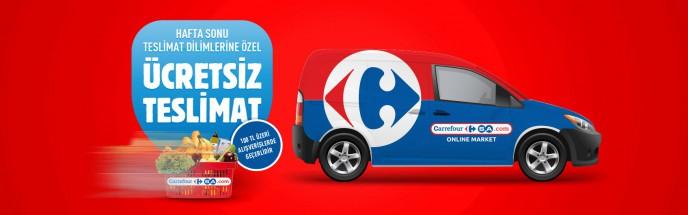 CarrefourSA'da Hafta Sonuna Özel 100 TL ve Üzeri Alışverişlerde Geçerli Ücretsiz Teslimat!