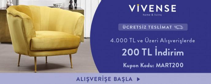 Vivense'de 4.000 TL ve Üzeri Alışverişlerde 200 TL İndirim ve Ücretsiz Teslimat Kampanyası!