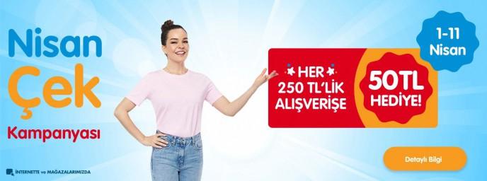 Ebebek'te Her 250 TL'lik Alışverişe 50 TL Nisan Çeki Kampanyası