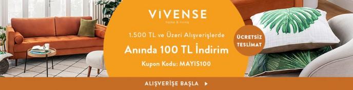 Vivense'de 1500 TL Üzerine 100 TL İndirim ve Ücretsiz Teslimat!
