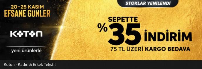 Koton da Efsane Günler.%35 İndirim
