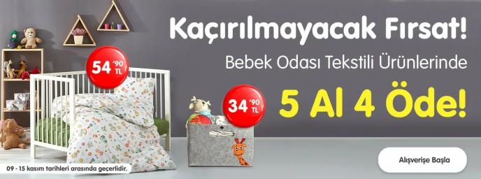 Ebebek'te Bebek Odası Tekstil Ürünlerinde 5 AL 4 ÖDE!