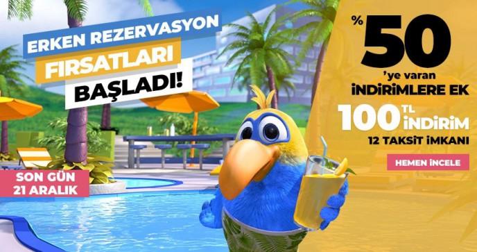 Tatil.com'da Erken Rezervasyona Özel %50'ye Varan İndirimlere Ek 100 TL İndirim